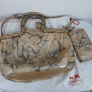 COACH SNAKE PRINT SHOULDER BAG & MATCHING WALLET